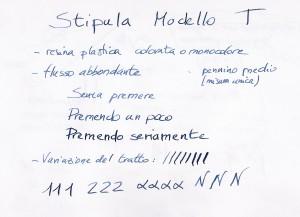 Test scrittura Stipula Modello T
