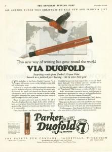 Una pubblicità Parker Duofold