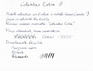 Esempio di scrittura con una Columbus Extra G
